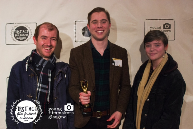 Kevin Grossett (cinematographer), Andrew Rooke (director)and Floraidh Clark (lead actress) left to right with their award